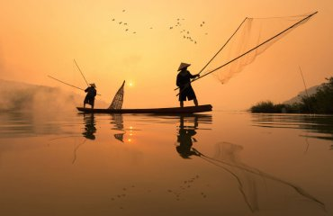 Fishermans is fishing in Mekong river in the morning at Nongkhai