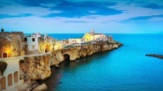 Vieste town on the rocks, Gargano, Apulia, Italy.