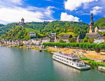 Romantic river cruises over Rhein - medieval Cochem town. German