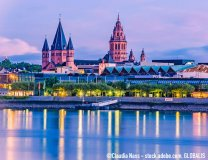 Mainz cityscape color picture in  the blue hour